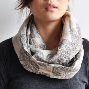 Bookhou linen print loop infinity scarf